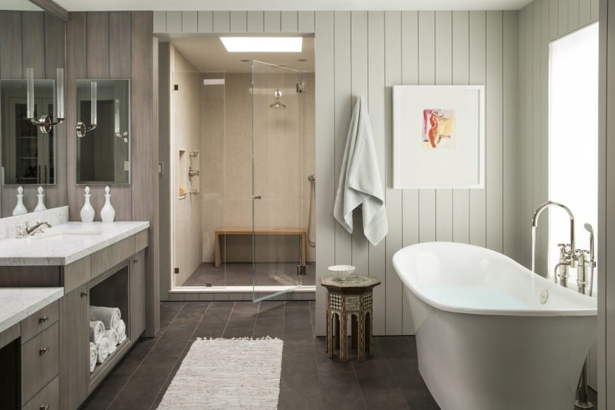 bathroom design idea 9 - Home Zenith-Trendy Interior Design Ideas on charcoal subway tile, charcoal gray tile, limestone wall tile, charcoal granite tile, charcoal tile flooring, charcoal kitchen, charcoal bathroom sinks, charcoal wall tile, charcoal carpet tile, charcoal ceramic floor tile,