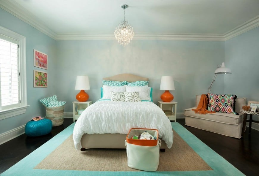 Another Feminine Bedroom Rich With Blue Hues And Hints Of Some Orange Grey Here