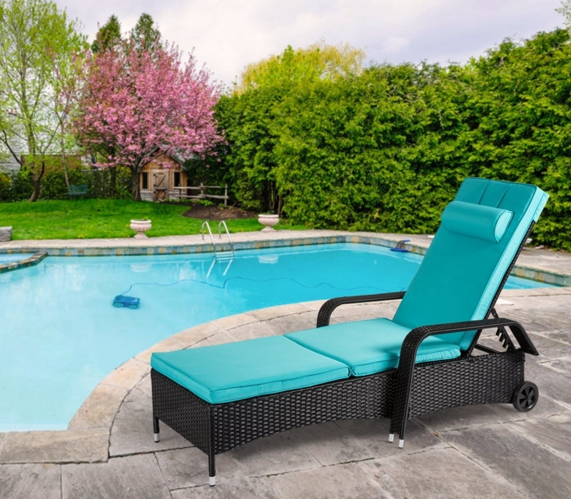 Reclining Armed Chaise Lounge for backyard pool