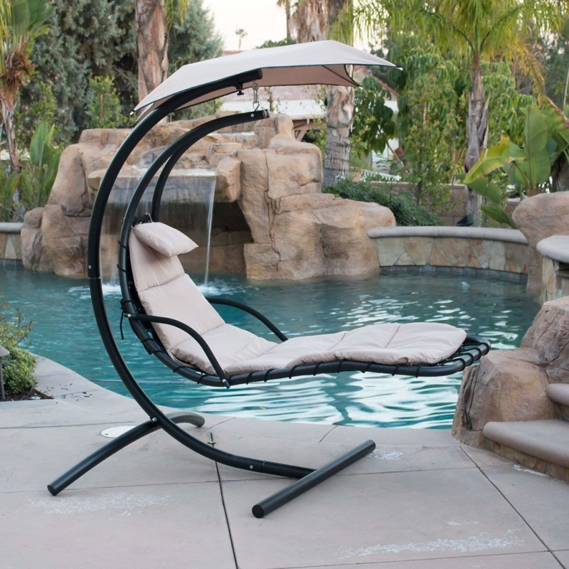 Hanging Lounger Chair Swing Hammock with Stand and Canopy